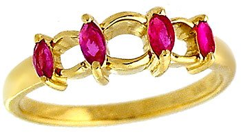 3001: 14YG .34ct Marquise Ruby Band ring: 100678