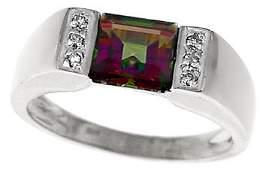 3154: 14KW 1.35ct Mystic topaz princess dia ring: 11103