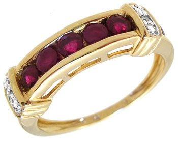 4251: 10KY .30cttw Ruby Diamond band ring: 659908
