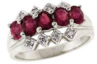 14KW 1.25ct Pink Sapphire diamond band ring: 1638