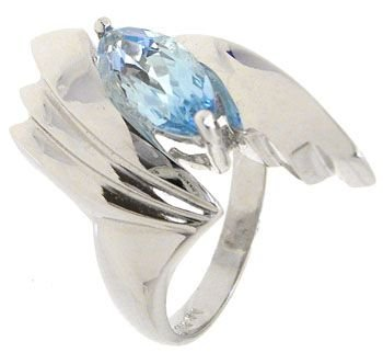4262: 14KWG 1.27ct Blue Topaz ring: 113586