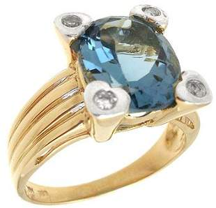 14KY 3ct Blue Topaz oval dia ring: 655331