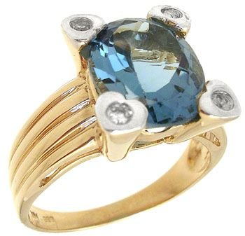 4263: 14KY 3ct Blue Topaz oval dia ring: 655331