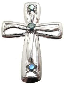 14WG 1/7ct Teal Diamond cross pendant: 789791