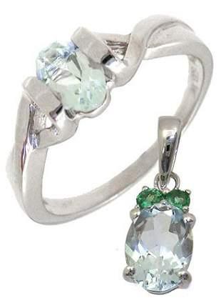 WG Gift Set 1.20ctw Aquamarine Ring & Pendant: 12