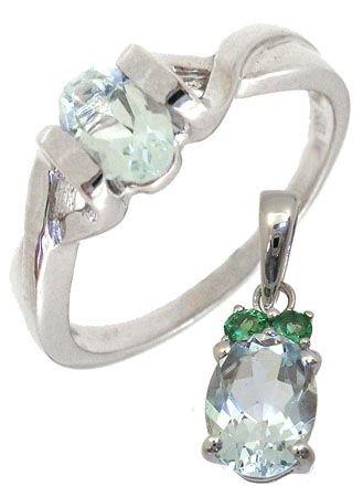 4266: WG Gift Set 1.20ctw Aquamarine Ring & Pendant: 12