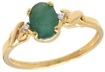 4267: 14k Gift Set Emerald Hoope Earrings w/Ring: 67422