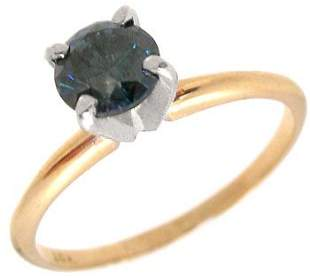14YG .50ct Blue diamond solitaire estate ring: 65