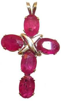 14KW 2.5cttw Ruby oval Cross Pendant: 789809