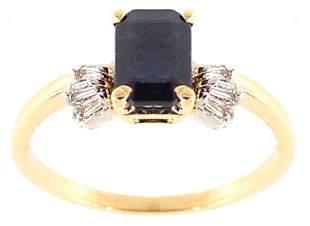 1.20ct Sapphire ecut .07ct diamond bag ring: 6968