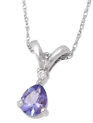 Platinum .30cttw Tanzanite diamond pendant with c
