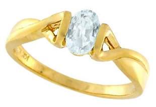 14KY .50ct Aquamarine oval 1/2 bezel ring: 103847