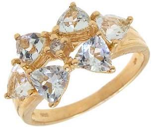 1.2ct aquamarine 6 trillion dia band ring: 123672