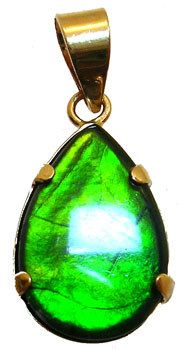14KYG 12x8m Ammolite pear Pendant: 655391