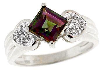 14KW 1.50ct Mystic topaz princess dia ring: 11265