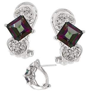 14KW 3ct Mystic topaz princess dia earring: 11117