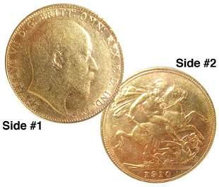 22KY Gold 1910 Edwards VII Coin 7.9gram: 101coin