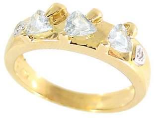 14KY .60ct aquamarine 3 trillion diamond band rin