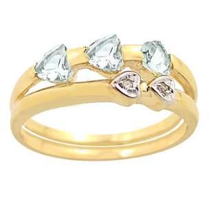 .65ct aquamarine 3 trillion dia band ring: 103625