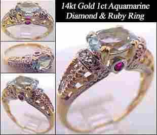 1+ct aquamarine ruby/dia antique style ring: 2003
