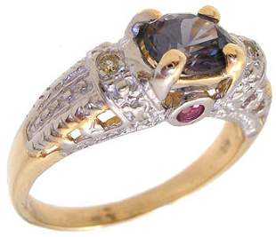 14KY 1ct Purple Spinel ruby dia Antique Style rin
