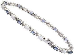 14KW 3.50ct Sapphire Opal Diamond bracelet: 65990