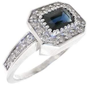 18KW 1.03ctw Blue Sapphire Diamond Ring: 738001