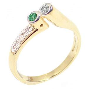 .23ct teal/yell/wh diamond bezel stacker ring: 21