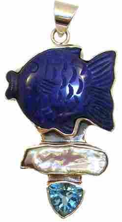 SSilver Lapis Fish Blue Topaz Pendant: 777463