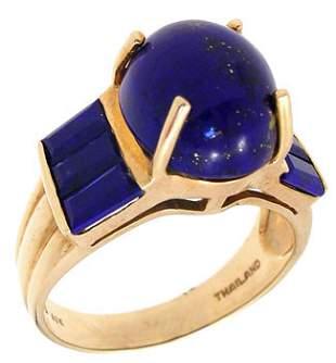 10KY Lapis Lazuli oval bagguette ring: 789739