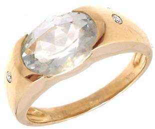 14KY 1.56cttw Aquamarine oval gypsy diamond band
