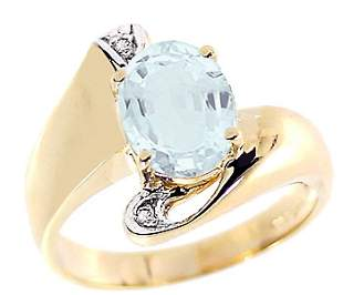 1.50ct aquamarine oval diamond bypass ring: 10376
