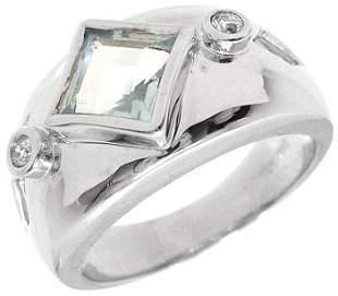 WG 1.21ct Princess Bezel Aquamarine dia Ring: 114