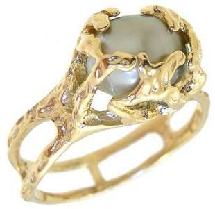 14K Y 8+mm Tahitian Pearl Keishi Ring: 421547