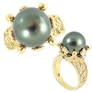 14KY 12mm Tahitian Pearl Diamond crown ring: 3115