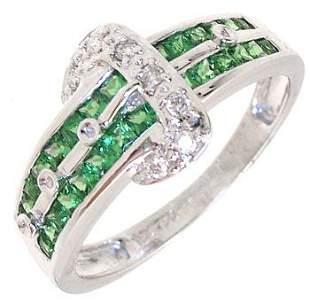 18KW Tsavorite Channel Diamond Ring: 738838
