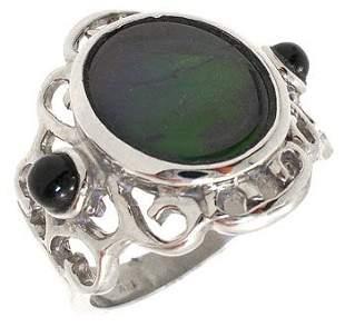 14KW Ammolite oval sapphire bezel Ring: 655389