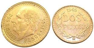 Two 1945 Mexican Pesos Coin 22KY: 653518