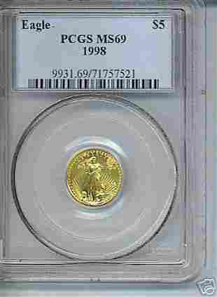 1998 $5 Gold American Eagle Coin PCGS MS69: 84058