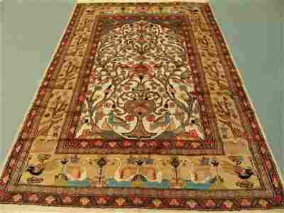 5323: Kashmir Silk & Wool Pile Cashmiri Rug 8x6: 3428