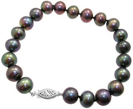 278: 14KW 8.5/9.5mm black pearl bracelet: 200912