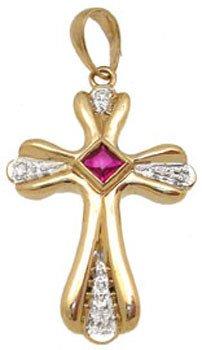 250: 14YG Ruby princess Dia cross pendant: 182764