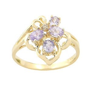258: 14ky.46ct oval-cut Tanzanite dia cluster ring: 101
