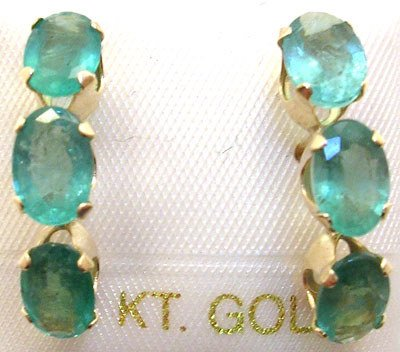 259: 14KY 1.50ct emerald 3 oval earring: 789811