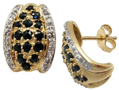 260: 14KY Sapphire & Diamond 1/2 hoop earring: 659153