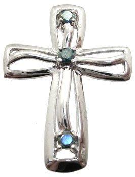 266: 14WG 1/7ct Teal Diamond cross pendant: 789791