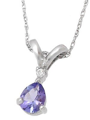 267: Platinum .30cttw Tanzanite diamond pendant with ch
