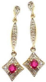270: 10YG .85cttw Ruby Diamond dangle earring: 659997
