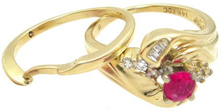 271: 14YG .55cttw Ruby Diamond 2pc set ring: 659998