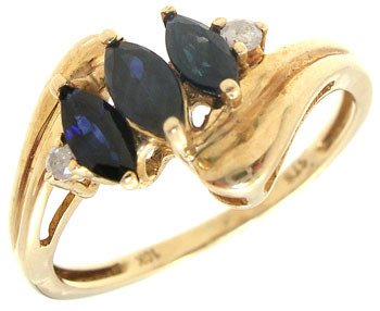 1001: 10KY .55cttw Sapphire marquise dia band ring: 659